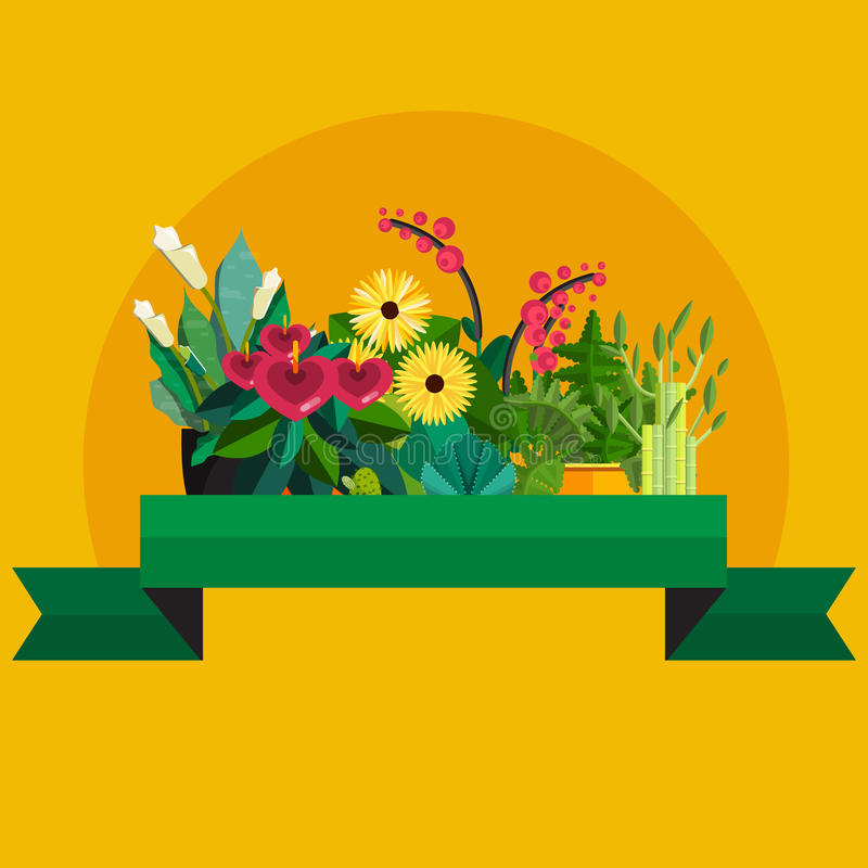 Florist shop.Plants composition.Flower store flat design. Plants in floristic shop.Sale in flower shop.Shopping plant store.Big flower sale.Plants composition royalty free illustration