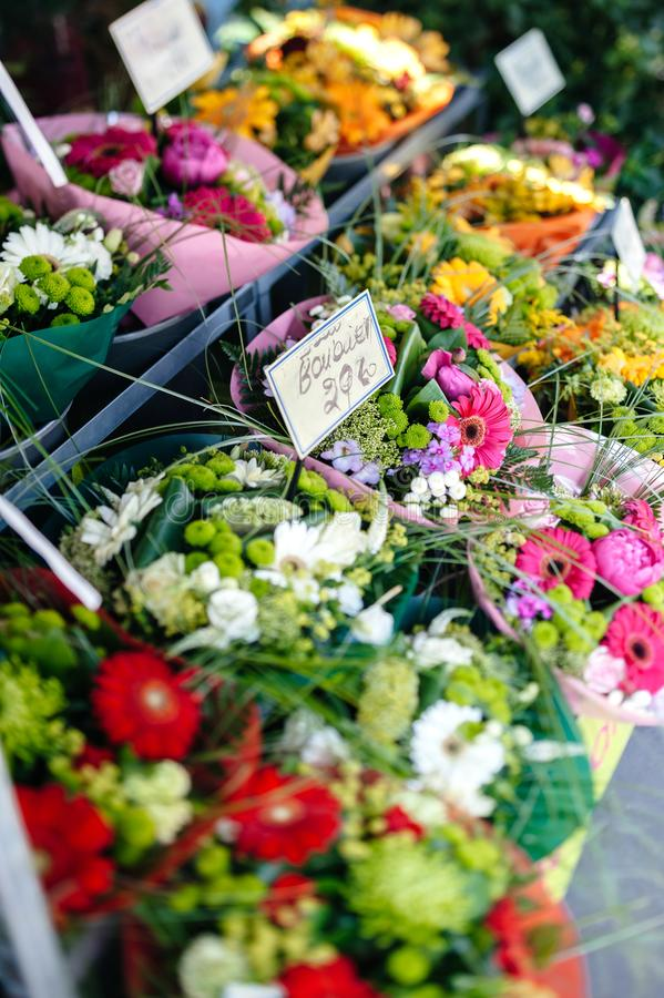 Florist shop selling multicolored diverse scented flowers royalty free stock photo