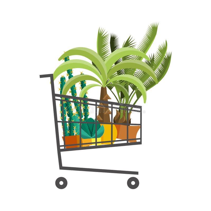 Florist shop.Shopping cart with plants.Flower store flat design. Plants in floristic shop.Sale in flower shop.Shopping plant store.Big flower sale.Shopping cart stock illustration