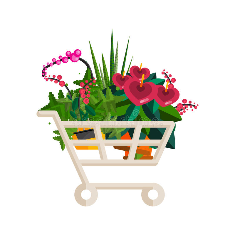 Florist shop.Shopping cart with plants.Flower store flat design. Plants in floristic shop.Sale in flower shop.Shopping plant store.Big flower sale.Shopping cart vector illustration