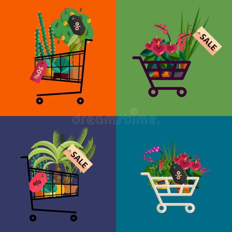 Florist shop.Shopping cart with plants.Flower store flat design. Plants in floristic shop.Sale in flower shop.Shopping plant store.Big flower sale.Shopping cart royalty free illustration