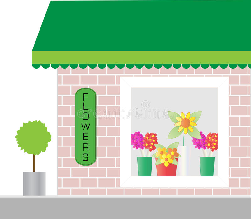 Florist Shop Window. Whimsical flower / florists store shop front with floral window display and space for copy or company business name / logo royalty free illustration