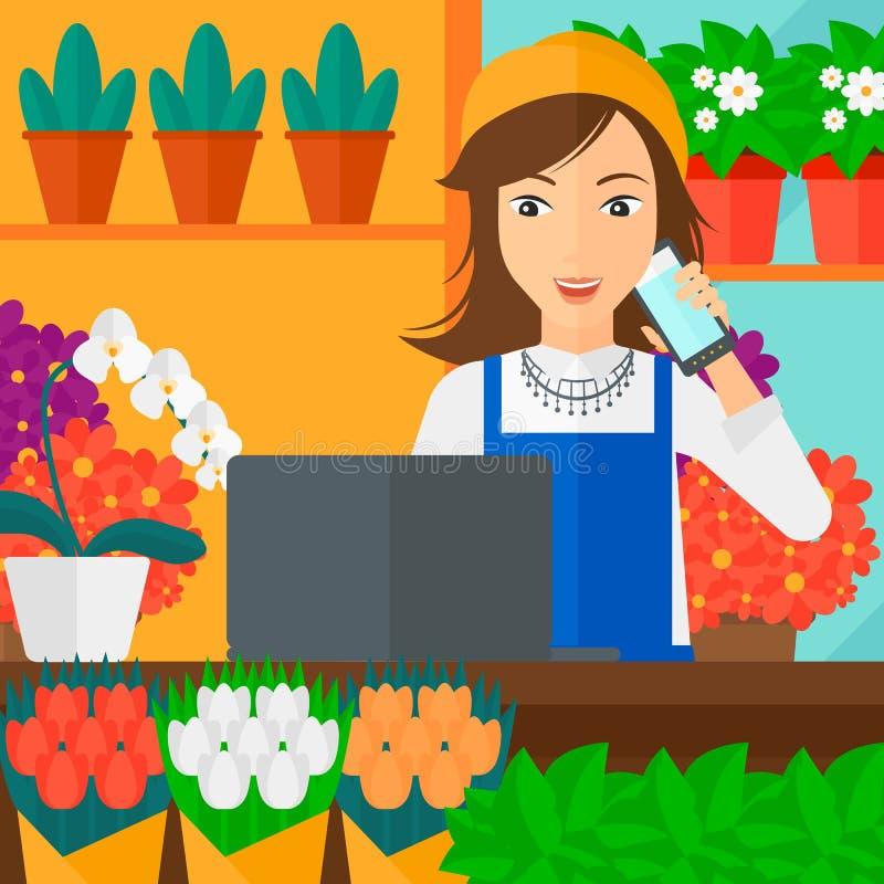 Florist taking order stock vector illustration of floral for Flower shop design layouts