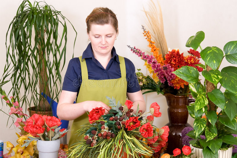 Florist working royalty free stock image