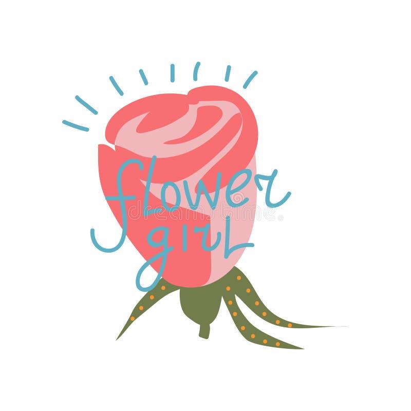 Florista, elemento del diseño con Rose Flower Can Be Used roja para la tarjeta de felicitación, insignia, etiqueta, invitación, v libre illustration
