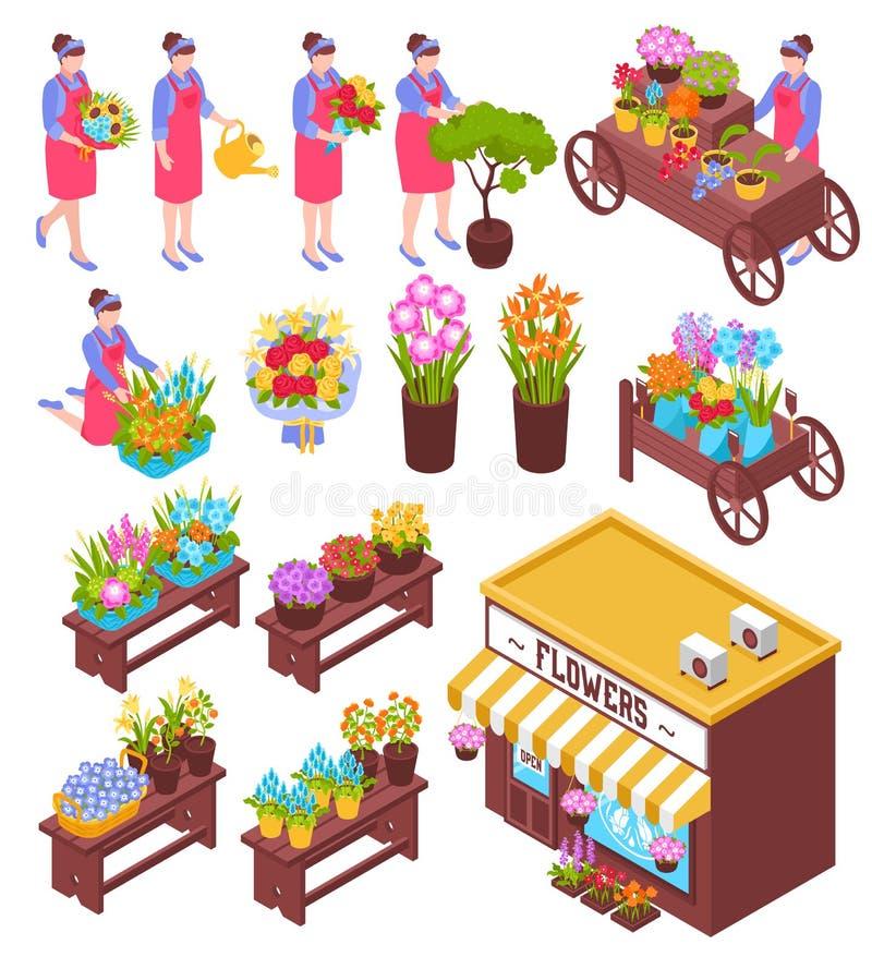 Florista Isometric Elements Set stock de ilustración