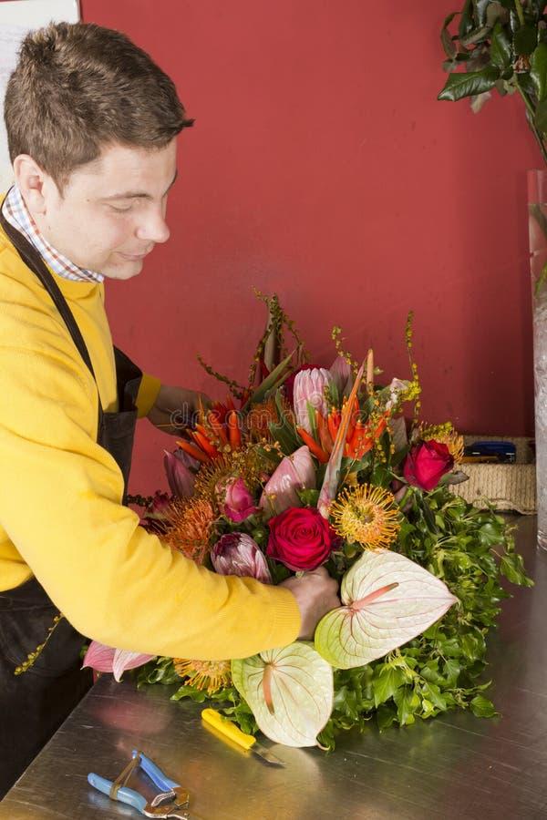Florista que arranja flores frescas fotografia de stock