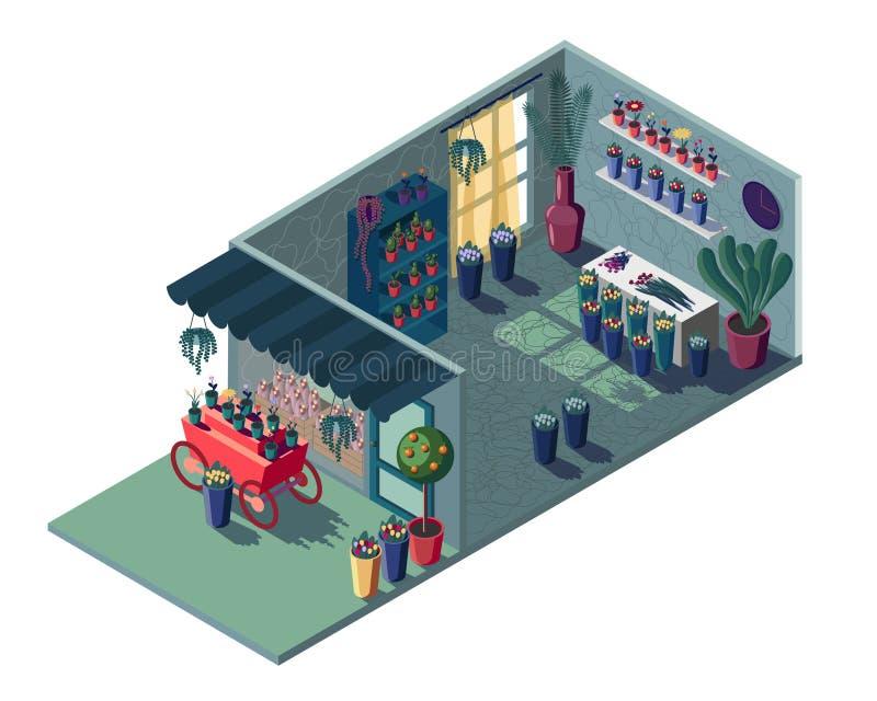 Floristería en verde isométrico Con un carro y una vitrina rojos stock de ilustración