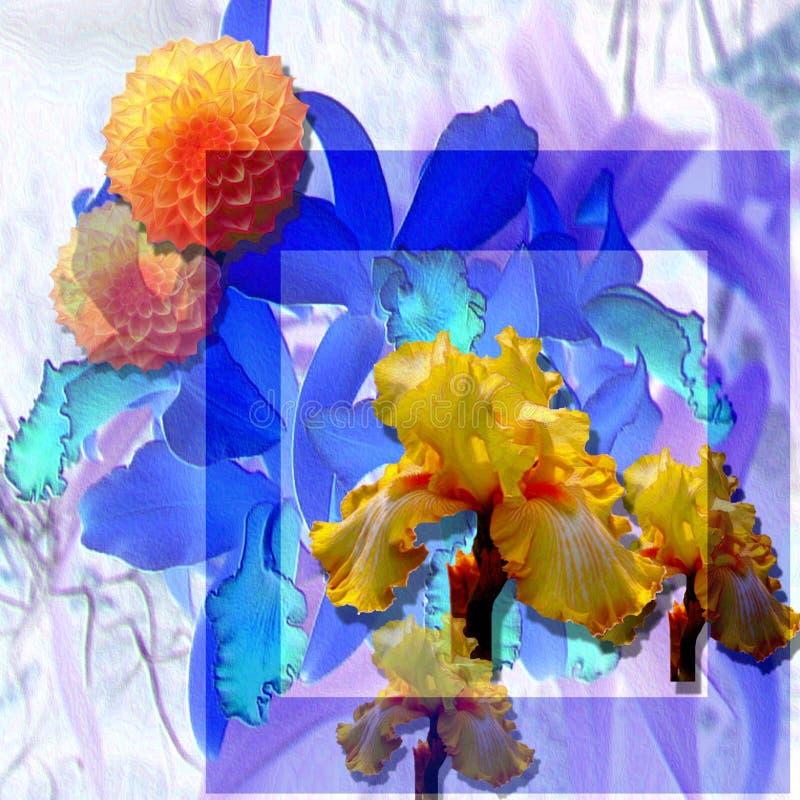 floristic blommayellow för blå mörk etude fotografering för bildbyråer