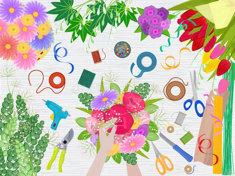 Floristics vector florists hands making beautiful floral bouquet and arranging flowers in flowershop illustration of. Flower arrangement table and flowering stock illustration