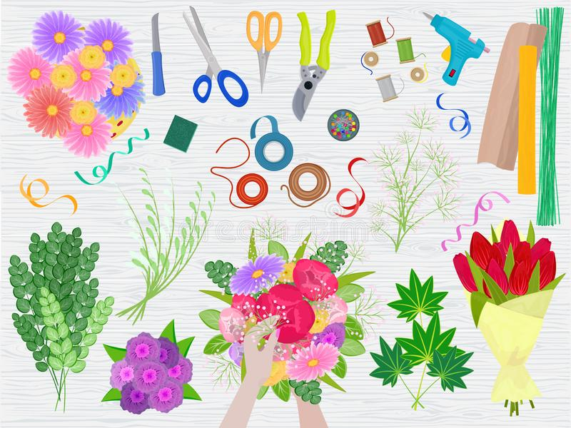 Floristics vector florists hands making beautiful floral bouquet and arranging flowers in flowershop illustration of. Flowering arrangement table with tools stock illustration