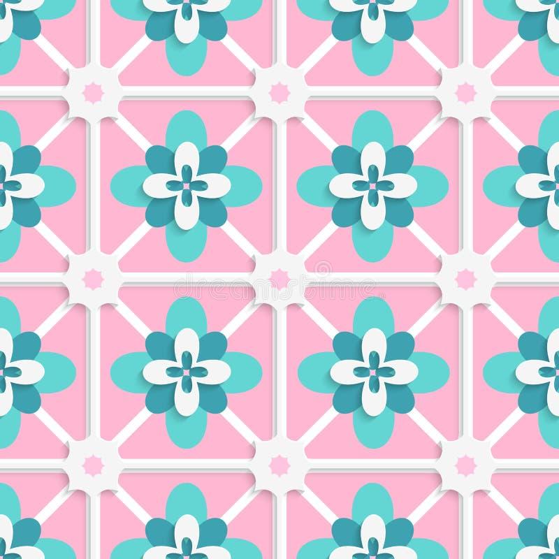 Floristische grüne und rosa Fliesenverzierung vektor abbildung