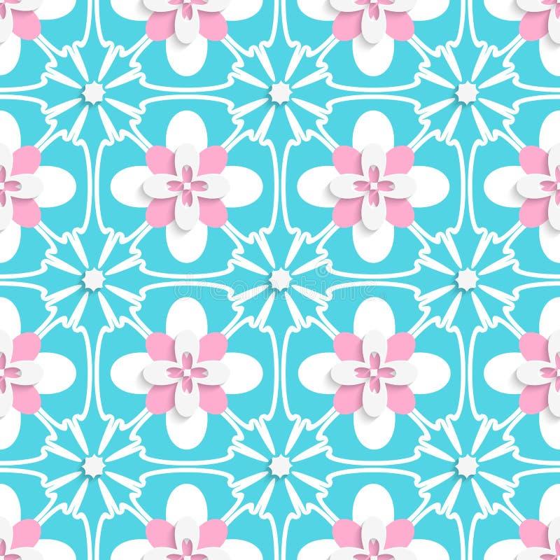 Floristischer Türkis und rosa Fliesenverzierung vektor abbildung