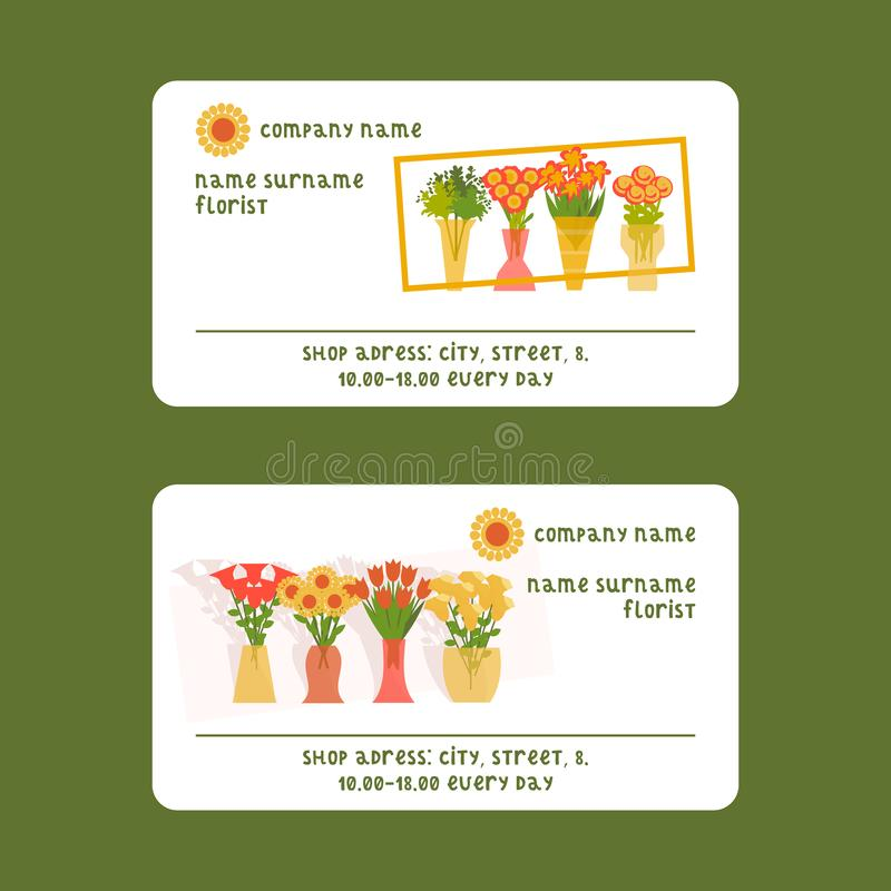 Florists and flower shop vector illustration for visiting card. Cartoon isolated flowers and plants set. Floristic stock illustration