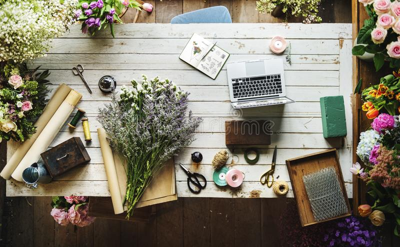 Florists Workspace royalty free stock photo