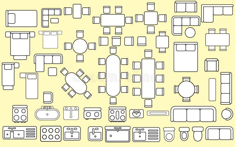 Florrplan möblemangbeståndsdelar vektor illustrationer