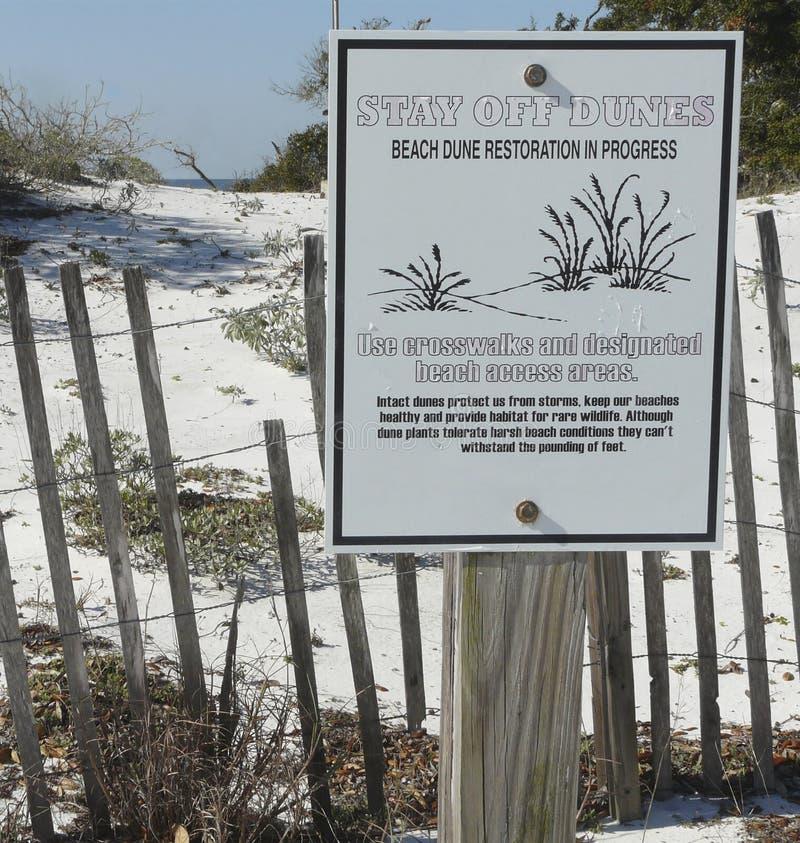 Floryda plaży przywrócenia Wydmowy znak obrazy royalty free