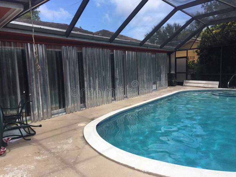 Floryda przygotowania basenu huraganowy pokład fotografia royalty free