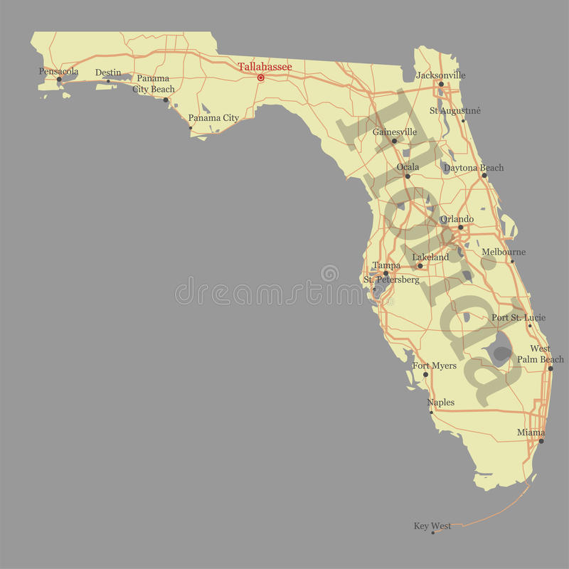 Floryda wyszczególniał dokładną szczegółową stanu wektoru mapę z społecznością royalty ilustracja