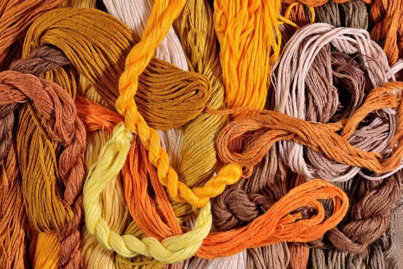Floss colorido do bordado como a textura do fundo fotos de stock royalty free