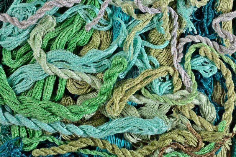 Floss colorido do bordado como a textura do fundo imagem de stock