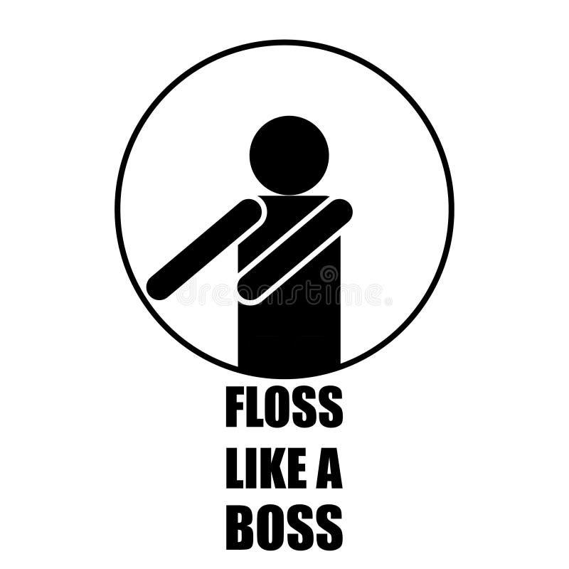 floss como um ícone branco preto engraçado do chefe ilustração royalty free