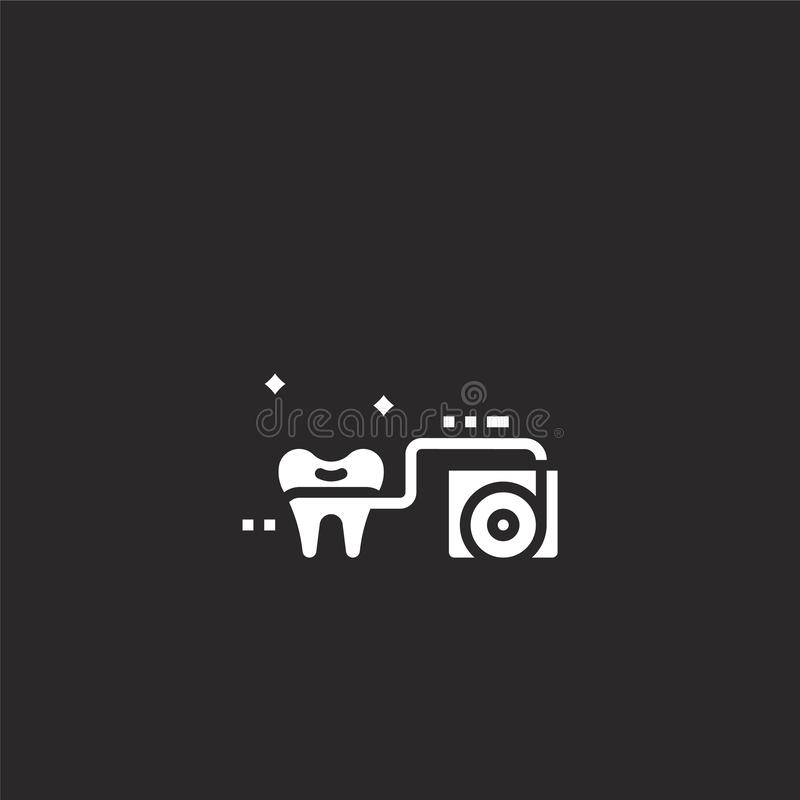 Floss icon. Filled floss icon for website design and mobile, app development. floss icon from filled dental collection isolated on. Black background stock illustration
