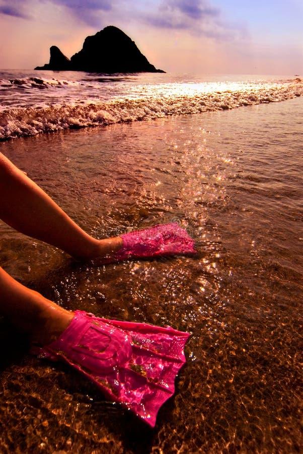 Flossen des Schwimmers im Wasser stockfoto