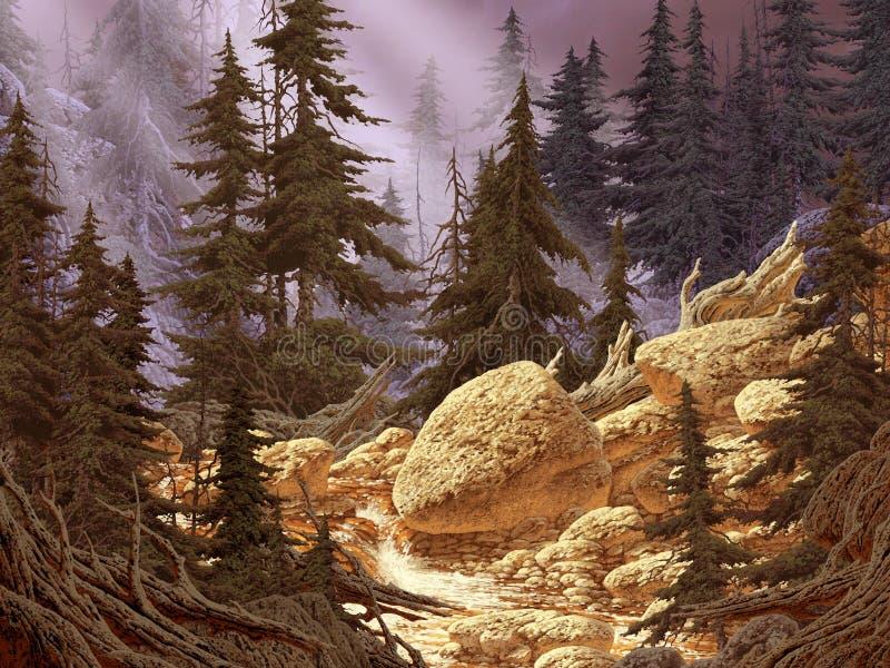 Flot de montagne de cascade photo stock