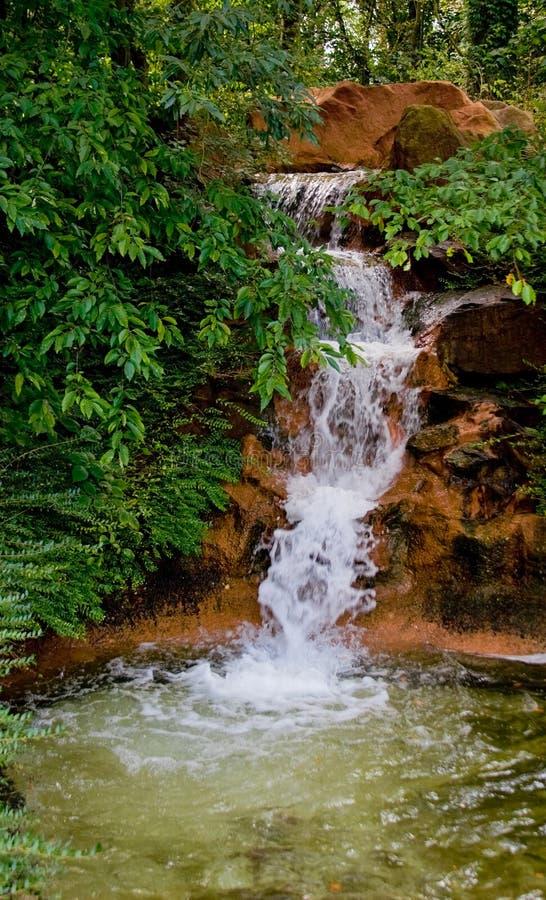 Flot de ruisseau avec la cascade à écriture ligne par ligne photos stock