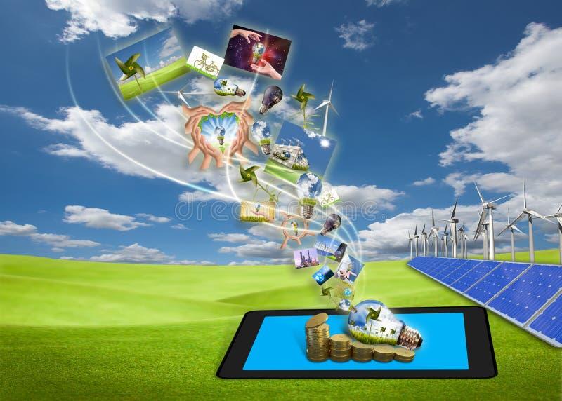 Flot des images d'énergie d'économie de PC de tablette illustration stock