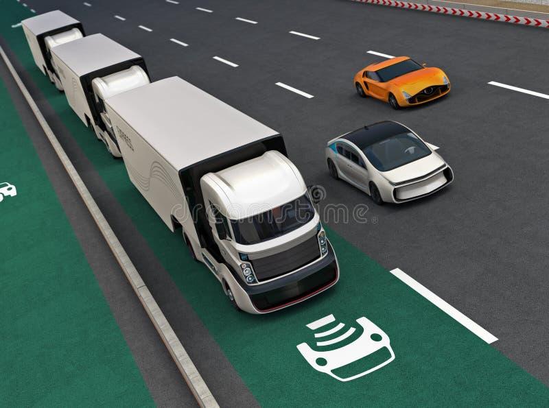Flota autonomiczny hybryd przewozi samochodem jeżdżenie na bezprzewodowym ładuje pasie ruchu royalty ilustracja