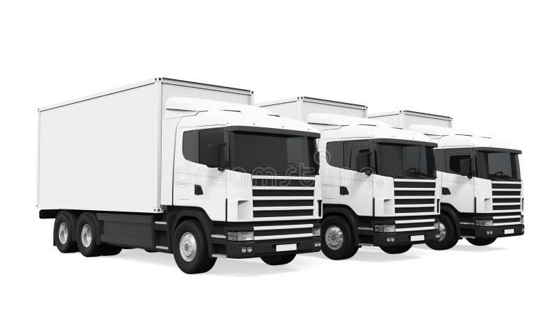 Flota de camiones aislada ilustración del vector