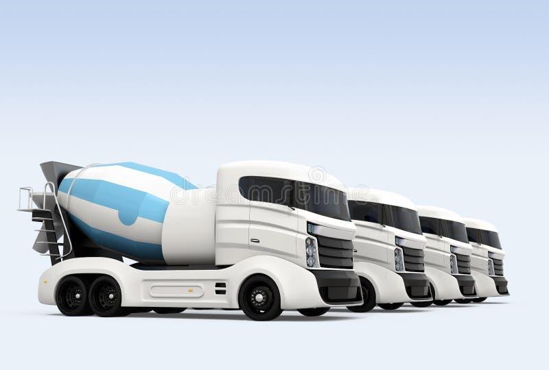 Flota de camiones del mezclador concreto aislados en fondo azul ilustración del vector