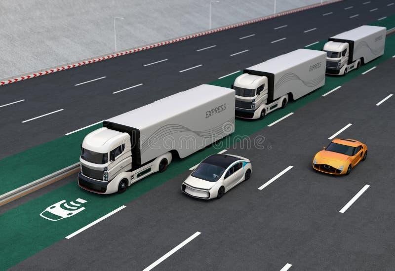 Flota de camiones híbridos autónomos que conducen en carril de carga inalámbrico stock de ilustración