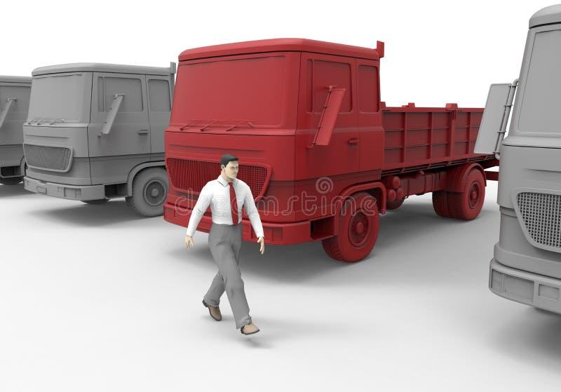 Flota de camiones lista para el negocio ilustración del vector