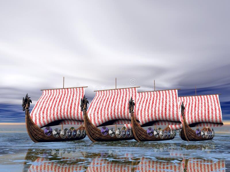 Flota de Vikingo de naves stock de ilustración