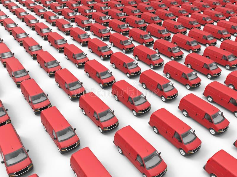 Flota enorme de furgonetas de entrega stock de ilustración