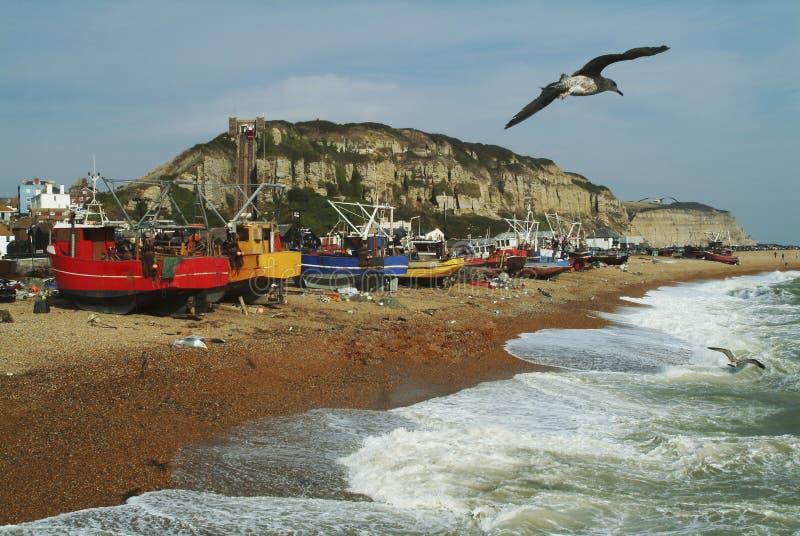 Flota pesquera de Hastings Sussex del este, Inglaterra fotografía de archivo