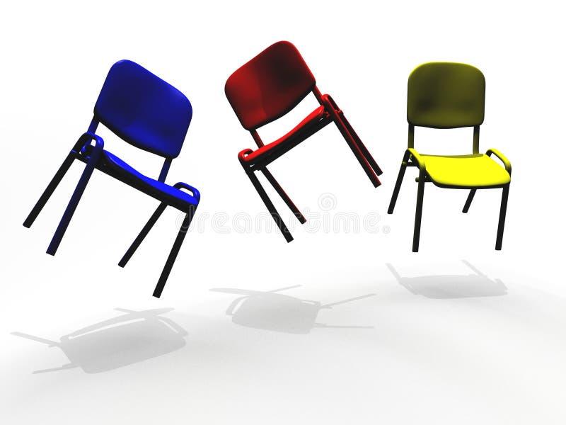 Flotación colorida de las sillas de Illlustrated libre illustration