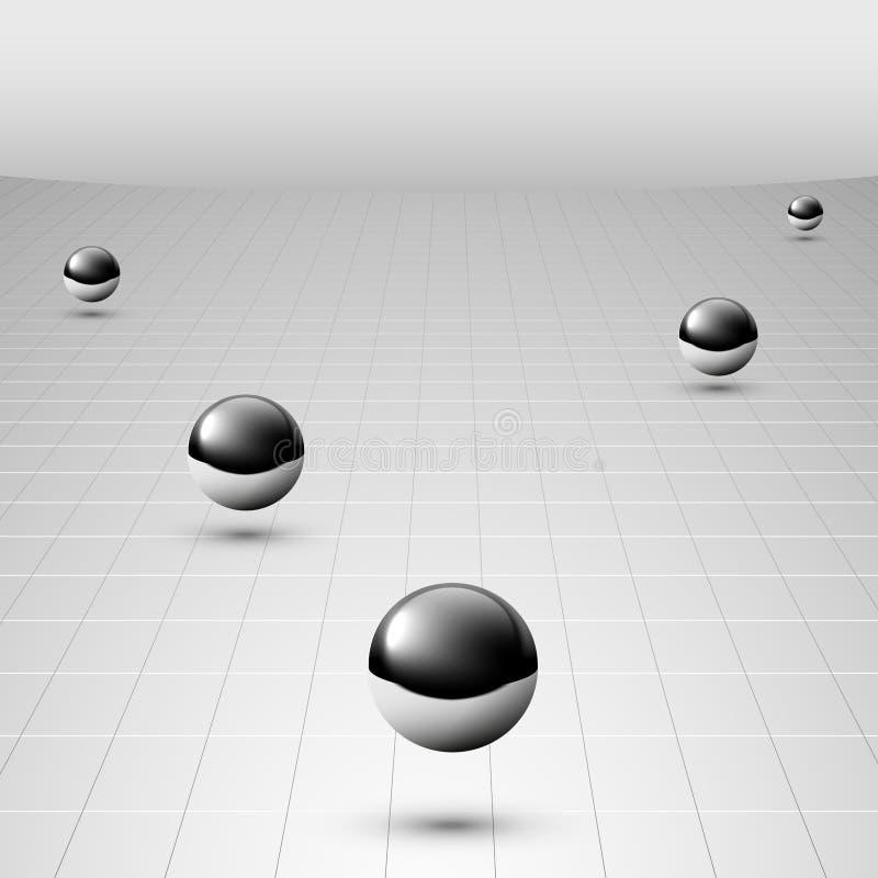 Flotación de plata brillante de las bolas ilustración del vector