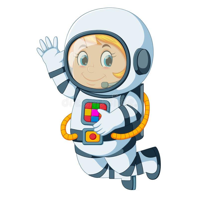 Flotación del astronauta de la historieta stock de ilustración