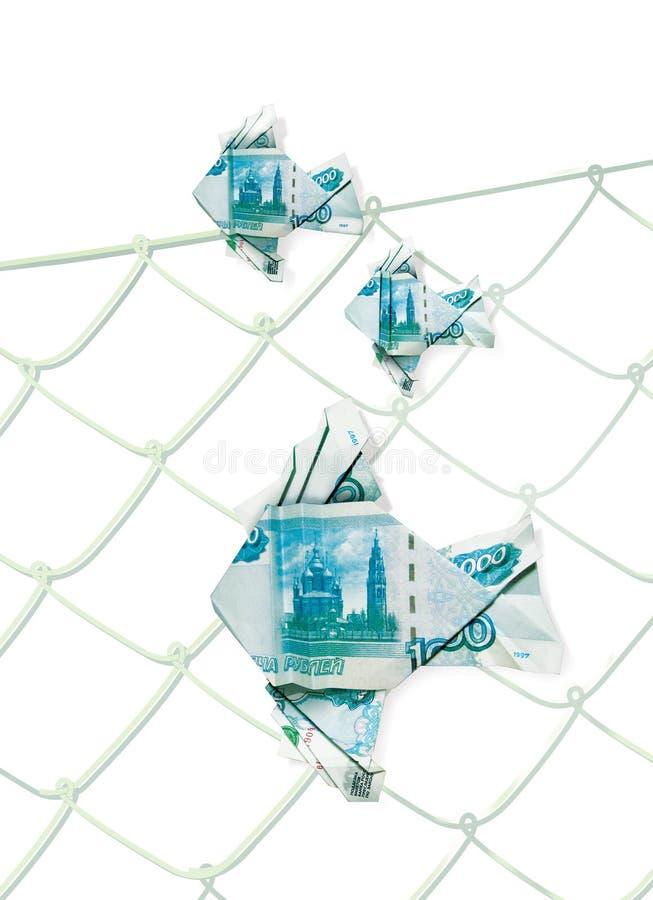 Flotación en los pescados de la papiroflexia del agua hechos de los billetes de banco del banco de la denominación de Rusia de 10 libre illustration
