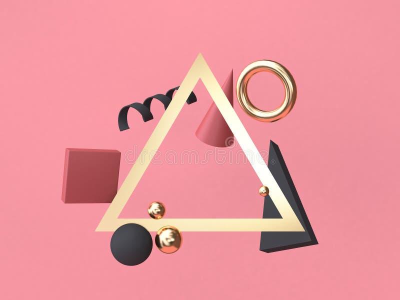 flotación geométrica abstracta mínima de la forma del fondo rojo-rosado del marco del triángulo de la representación 3d stock de ilustración