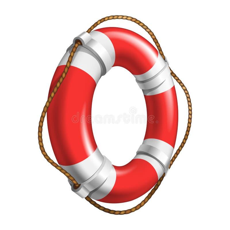 Flotación roja y blanca Ring Ship Device Vector ilustración del vector