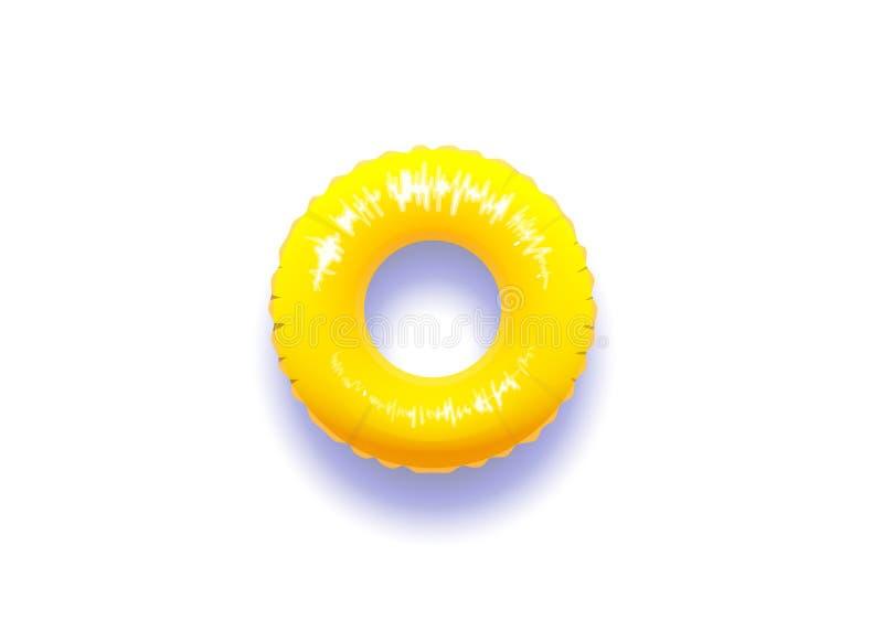 Flotador amarillo de la piscina con la sombra real aislada en el fondo blanco libre illustration