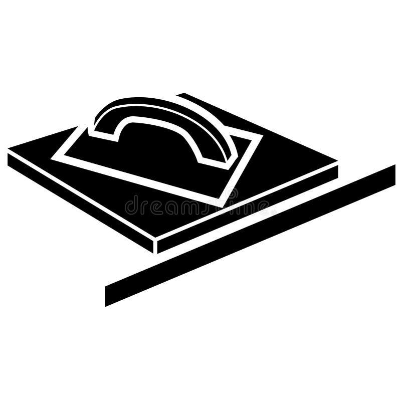 Flotador de epoxy de la lechada en una superficie y una regla rectangulares - silueta simple negra Clipart plano del vector de la stock de ilustración