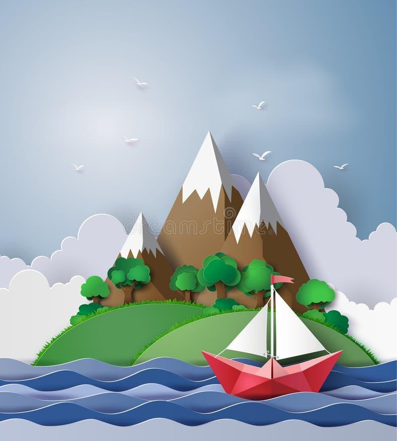 Flotador de papel del barco de navegación en el mar stock de ilustración