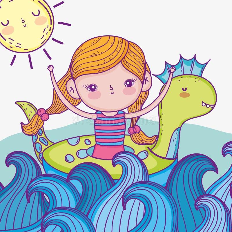 Flotador del dinosaurio del girlwith de la belleza en las ondas del mar stock de ilustración