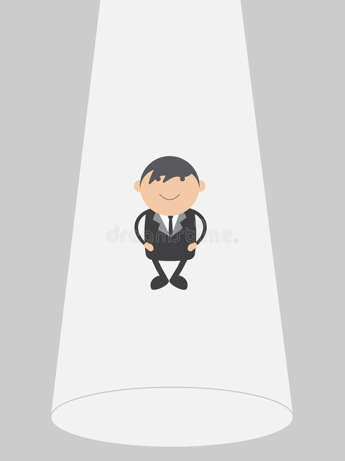 Flotador del hombre de negocios Concepto del extracto del personaje de dibujos animados del ejemplo del vector del garabato fotos de archivo